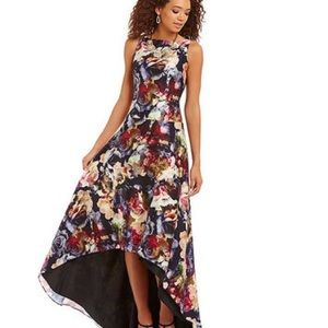Stunning Adrianna Papell Floral High Low Gown